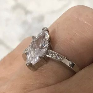 Wt gold filled Marquis Cut 2.25ct Lab Diamond Ring